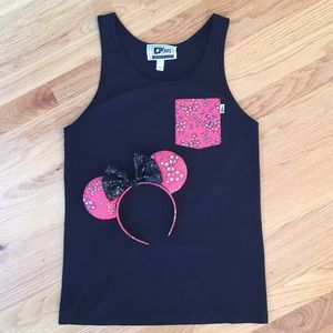 Tops - D3 Tees Minnie Mouse bow pocket tank